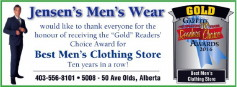 Mountain View County's 2016 Reader's Choice Award as Best Men's Wear Store 10 Years in a Row! Jensen's Men's Wear has the top tux rentals with Derks and Black & Lee. Come on in!